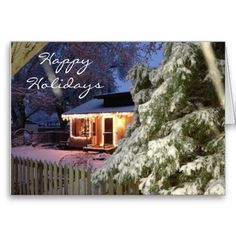 Lone Pine Holiday Greeting Card. Lone Pine Holiday. Original photo of a beautiful home covered in snow, surrounded by a white picket fence and a lone pine tree.