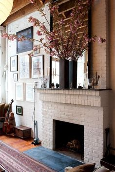 stepped brick/painted fireplace