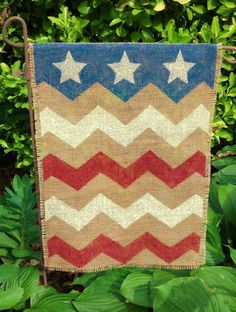 Burlap Garden Flag Chevron Stars and Stripes by RosemaryTwine, $15.00