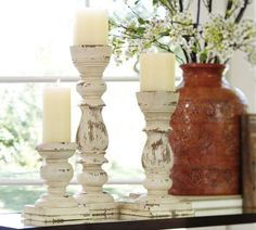 Wood Pillar Holders from stair parts!