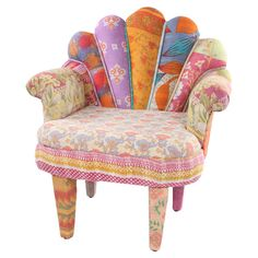 One-of-a-kind peacock chair with a mango wood frame. Upholstered with reclaimed Kantha throws