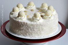PRAJITURA RAFFAELLO - Rețete Fel de Fel Romanian Food, Homemade Cakes, Mini Cakes, Vanilla Cake, Biscuits, Pudding, Sweets, Desserts, Recipes