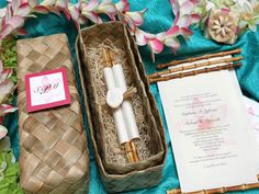 Dreamy 'Pink Plumeria Bamboo Scroll' wedding invitations from Designs by Lenila. These scrolls combine elegance with a tropical feel- perfect for your destination wedding! Scroll Wedding Invitations, Scroll Invitation, Debut Invitation, Creative Wedding Invitations, Diy Invitations, Wedding Invitation Design, Invitation Cards, Invites, Invitation Ideas