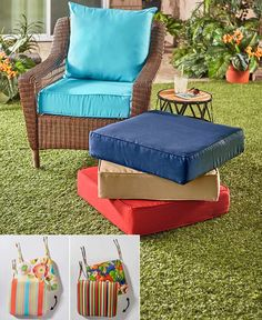 Add comfort to your patio or porch furniture with these Outdoor Seat Cushion Coordinates. With up to 500 hours of UV protection and a water-repellent treatment, t Cafe Seating, Restaurant Seating, Floor Seating, Outdoor Seating, Seating Plans, Patio Chairs, Outdoor Chairs, Outdoor Decor, Porch Furniture