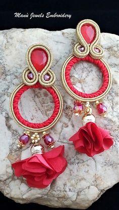 Red Earrings, Tassel Earrings, Fashion Earrings, Crochet Earrings, Flower Earrings, Soutache Bracelet, Soutache Jewelry, Boho Jewelry, Unique Jewelry
