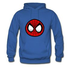 Men Round Spiderman Face Royal Blue Hooded Sweatshirt Top Rated-Funny Sweats Free Shipping!No setup fees.  http://hicustom.net/ Get your t-shirts or phone cases printed at awesomely low prices!