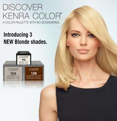 Introducing three new blonde shades: Kenra Color Permanent 10A and 10B and Kenra Color Demi-Permanent 9N. blond shade, kenra color