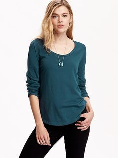 Women's Long-Sleeve Scoop-Neck Tees
