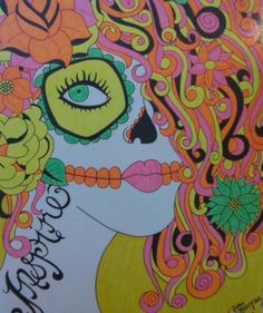 Sugar Skull Girl, 8x10 Inch Print, Colorful Neon Sharpie Drawing, Day of the Dead, Dia De Los Muertos, Inspire Tattoo, Original Gift Idea