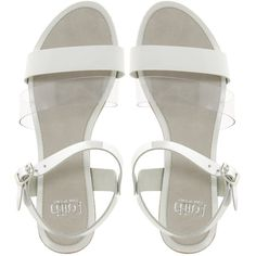 Faith Janay Mix Flat Sandals ($44) ❤ liked on Polyvore featuring shoes, sandals, flats, white, flat sandals, white sandals, leather flat shoes, white shoes, white flats and leather shoes