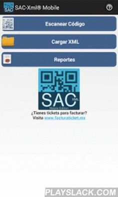 SAC-Xml Mobile  Android App - playslack.com , SAC-Xml Mobile te permite validar ilimitadamente la autenticidad de tus CFDI impresos o digitales de una manera fácil y rápida directamente ante los registros del SAT. Solo escanea el código bidemencional de tu factura impresa o carga el archivo CFDI (XML) en la app para conocer si tu factura es válida o apócrifa. Guarda los resultados de las validaciones para luego exportarlos a PDF y compartirlos vía E-mail. Convierte tus CFDI a Excel y PDF.Por…