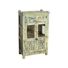 Cream & blue cabinet with tiles - We travel through India to find to most beautiful and unique cabinets. Without losing the story of their past we fix the cabinets where necessary, while keeping them as original as possible. Our mission is to pass them on to a new home where they will be appreciated for many years to come.
