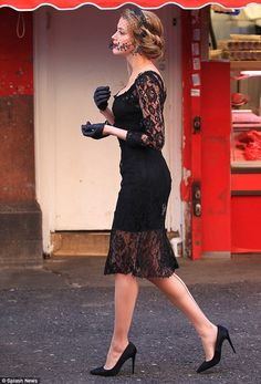 Amber Heard on set of London Fields in black lace dress with sexy stockings and high heels.