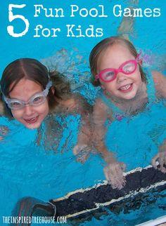 5 fun pool games for kids via The Inspired Tree House Pool Games Kids, Swimming Pool Games, Pool Activities, Water Games For Kids, Kid Pool, Games For Teens, Summer Activities For Kids, Fun Games, Pool Fun