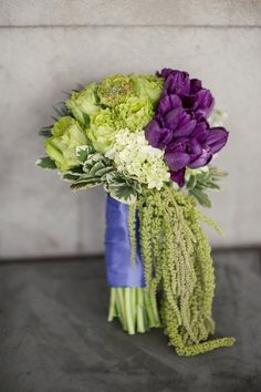 Purple and green bouquet with different arrangement- the color scheme I want in my wedding:)