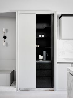 Monochrome kitchen in an East Melbourne family home by Flack Studio | Photography: Brooke Holm, Styling: Marsha Golemac