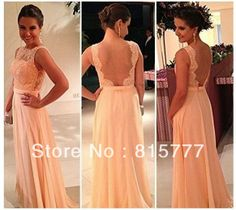 Traditional High Neck  Chiffon A-Line Pretty Nude Back Lace Peach Formal Evening Dress Free Shipping  US $110.00