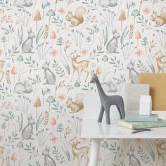 Woodland Animals Neutral Wallpaper