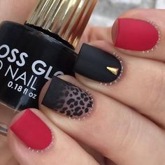 black, nails, and red image nail art nail DIY manicure nail design nail tutorials Cheetah Nail Designs, Leopard Nail Art, Black Nail Designs, Best Nail Art Designs, Leopard Prints, Red Cheetah Nails, Leopard Print Nails, Animal Prints, Matte Nails