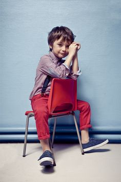 kid fashion, red pants, button up shirt and suspenders for the win!