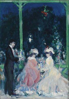 John Duncan Fergusson (British, 1874-1961), La Terasse, Le Touquet Casino: Night, c.1903-05. Oil on canvas, 55.2 x 38.1 cm.