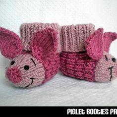 Sock Monkey Slippers For Kids Knitting Pattern Piglet Baby Booties Knitting Pattern Baby Booties Knitting Pattern, Kids Knitting Patterns, Knit Baby Booties, Crochet Baby Shoes, Crochet Slippers, Knitting For Kids, Knitting Projects, Crochet Projects, Knit Crochet