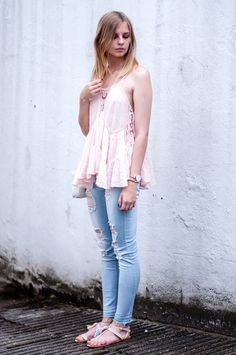 Pink Camisole Top with distressed blue denim jeans, pastel tassel sandals and trio bag, Kapten&Son watch, summer style  - Streetstyle Hamburg, Outfit, Blogger