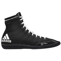 adidas Men's Adizero Wrestling XIV Wrestling Shoes, Black/White/White, 10 M US: Wrestling Shoes Men's Wrestling, Wrestling Singlet, Wrestling Videos, Adidas Shoes, Adidas Men, Sparring Gloves, Black White, Thing 1, Athletic Gear