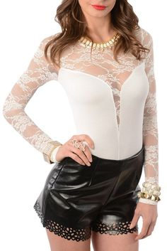 Ivory Sexy Sheer Lace Long Sleeve Bodysuit.    Yours at http://shrsl.com/?~58s4