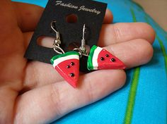 Refreshing watermelon earrings. Handmade from polymer clay by me