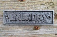 Cast iron vintage style LAUNDRY door sign by mjknobsandknockers