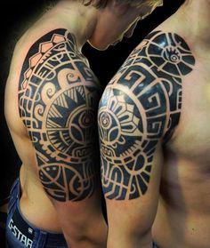 Polynesian-styled half sleeve - 35 Awesome Maori Tattoo Designs  <3 <3