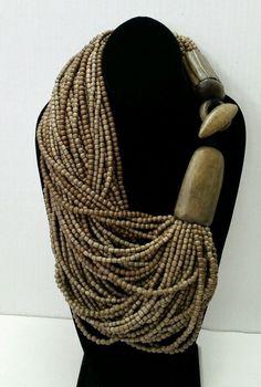 Gerda Lynggaard MONIES 60 Strand Wood Bead Runway Statement Designer Necklace   eBay