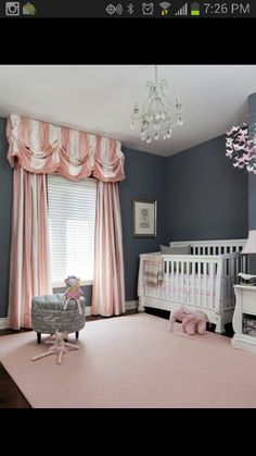 Paint color great for a baby girl room--- love the darker grey and pastel and white everything else