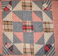 circa 1900 quilt block - plaids and stripes are the key to attempting to date this quilt