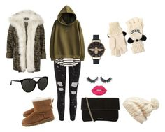 """❄️"" by lena1612 ❤ liked on Polyvore featuring Gipsy, River Island, H&M, Olivia Burton, Whistles, Linda Farrow, Lime Crime, Forever New, Karl Lagerfeld and UGG Australia"