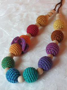 Nursing Necklace in Amber, Gold, Peacock, Jade, Rose, Ruby, Violet, Sage, Emerald, Tangerine, Oranges, Blues, and Brown Crocheted Beads  Ask...