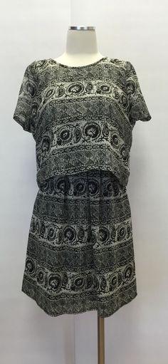 Madewell Womens Paisley Striped Print Cropped Black Cream Silk Dress Size 2 | eBay
