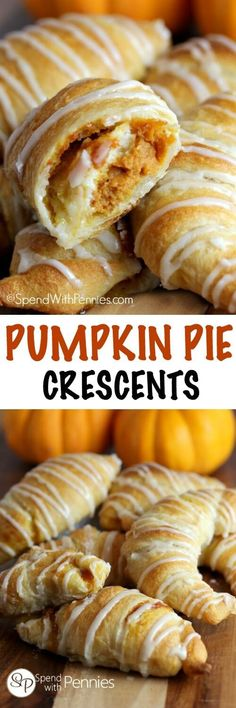 If you like Pumpkin Pie youll love this quick easy dessert hack! Pumpkin Pie C If you like Pumpkin Pie youll love this quick easy dessert hack! Pumpkin Pie Crescents give you all of the flavor of pumpkin pie fresh out of the oven in minutes! Köstliche Desserts, Delicious Desserts, Dessert Recipes, Yummy Food, Brownie Recipes, Health Desserts, Plated Desserts, Pumpkin Pie Recipes, Fall Recipes