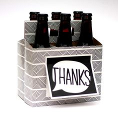 Thank You Beer Six-Pack Box from Beer Greetings.  Six-Pack Carrier + Greeting Card in One. Great for Groomsmen Gifts, Host/Hostess Gifts, & More.