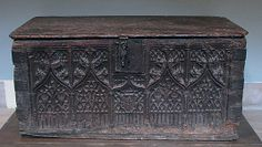 Chest  Date: late 15th century Culture: French Medium: Oak, iron mounts Dimensions: Overall: 26 5/8 x 56 7/8 x 28 1/4 in. (67.6 x 144.5 x 71.8 cm) Classification: Woodwork-Furniture Credit Line: Gift of J. Pierpont Morgan, 1916 Met Museum