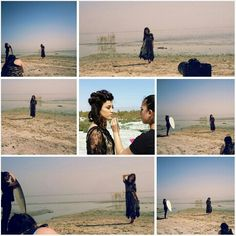 Behind the scenes of fashion shoot at Saltan sea,  California.  Couture dresses by Charlotte Appleby