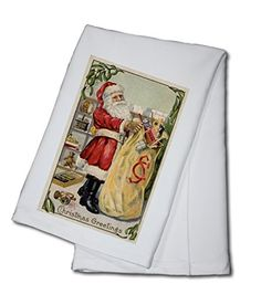 Christmas Greetings  Santa Holding an Overflowing Bag of Toys 100 Cotton Kitchen Towel -- Click on the image for additional details.