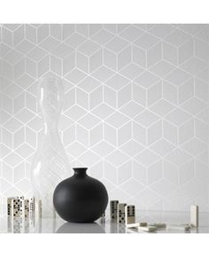 Cubix White Geometric Wallpaper - Graham and Brown