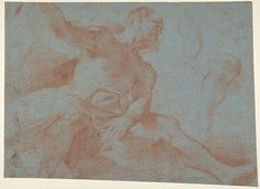Guercino (Giovanni Francesco Barbieri) | Seated Old Man with Right Arm Upraised (Tithonus) (recto); Seated Nude Youth (figure of Day) (verso) | The Met