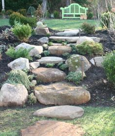 example of rock steps down North side path