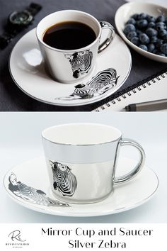Elegant Zebra Image reflected on a Silver mirror cup from a matching Silver trim saucer plate. Find pleasure by using this mirror reflection cup set created by the latest electroplating technology. Bring your tea or coffee time to the next level of luxury. The mirrored cup gift set comes with either gold or silver reflections and different designs or patterns on the saucers. The image is perfectly reflected by the mirrored cup. Mirror Cup, Cupping Set, Coffee Time, Cup And Saucer, Reflection, Plates, Technology, Tea, Patterns