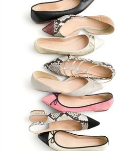 Flat-out fabulous. Our newest J.Crew ballet flats in gold glitter, snakeskin print and rosy suede.