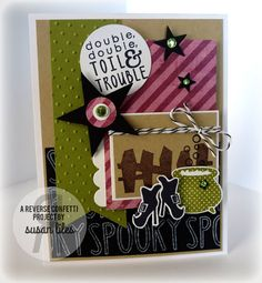 Stamps: Spooky Cuties, Spooky Sentiments (Reverse Confetti) Paper: White, Kraft, Black (PTI), Old Olive (SU!), Lime Twist (MME) Ink: Black Licorice (MFT), Old Olive, Chocolate Chip, White Craft (SU!) Accessories: Starry Die (A Cut Above Dies by Verve), Star and Circle Punches, Scallop Square Nestabilities, Swiss Dot Embossing Folder, Adhesive Rhinestones (Doodlebug), Licorice Divine Twine (TCP), Jody Boosters Finished Size: A2