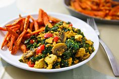 Scrambled Tofu and Kale with Sweet Potato Fries from FatFree Vegan Kitchen. We could eat this every day.